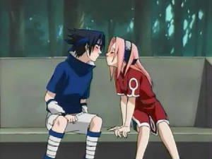 sasuke and sakura about to kiss.
